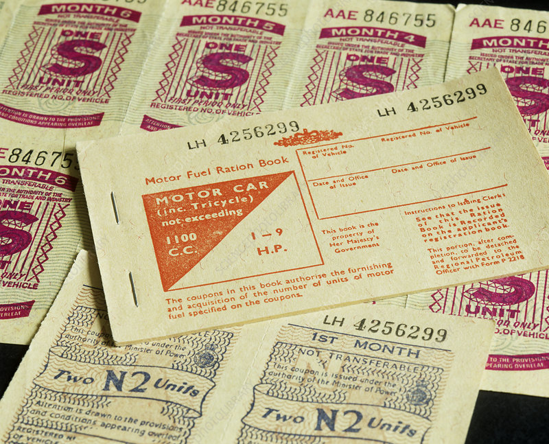 Motor fuel ration book and vouchers