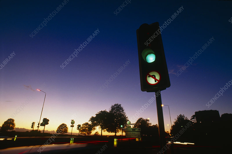 Traffic lights showing green