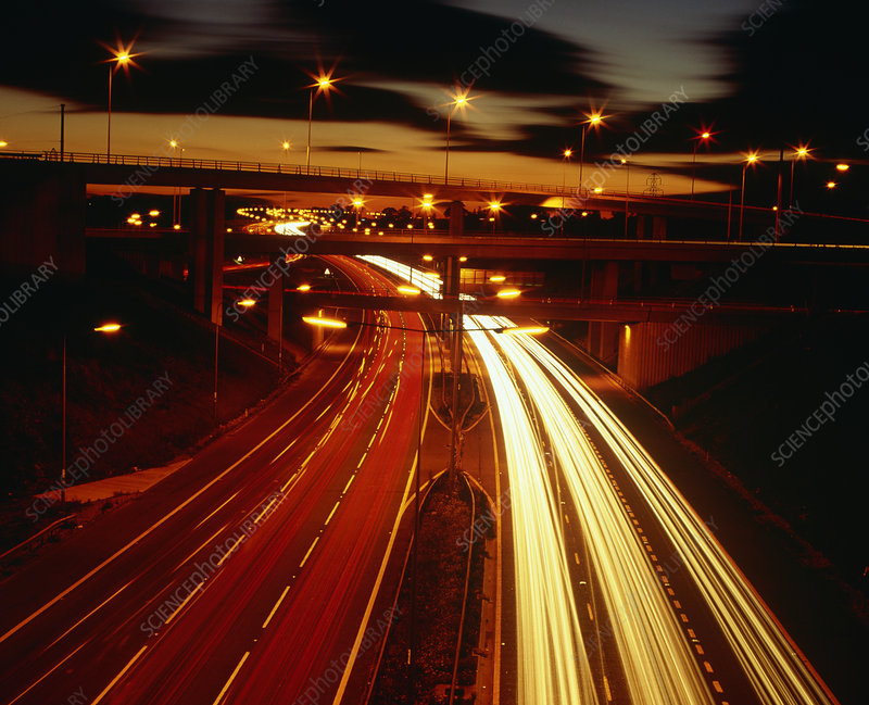 M25/M1 junction at night with light trails