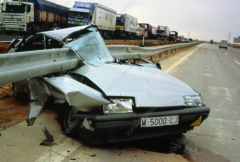 Wreck of a car after motorway accident, Spain
