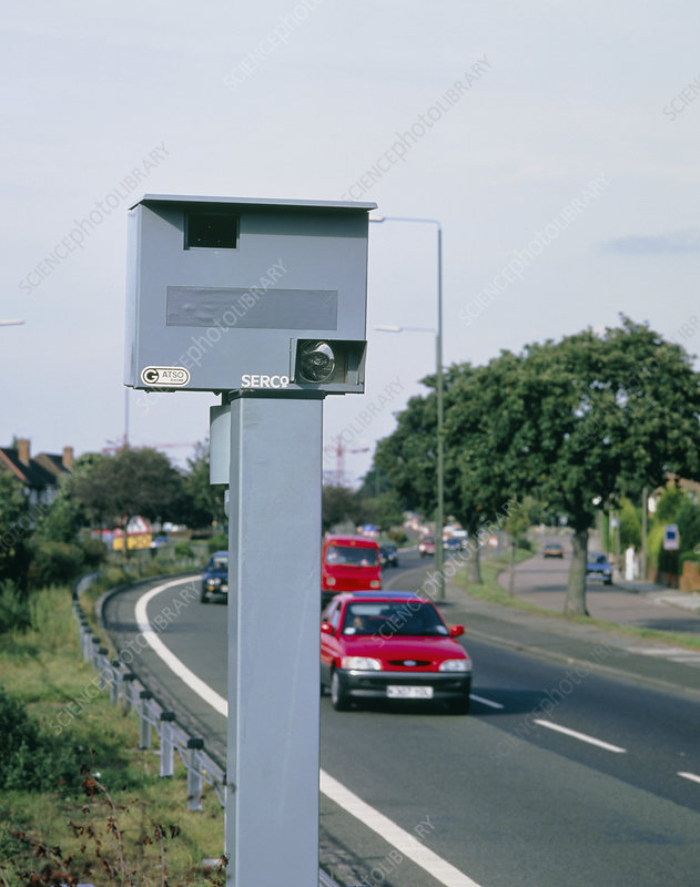 Speed camera by side of dual carriageway