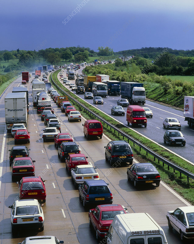 Heavy traffic in a British motorway