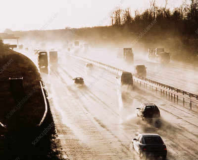 Traffic on wet motorway