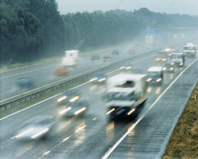 Motorway traffic in the rain