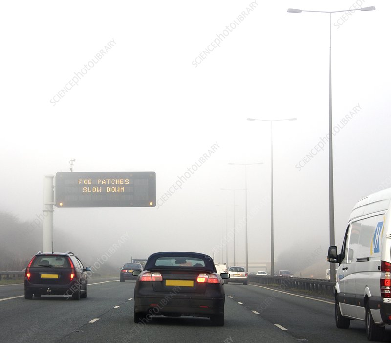 Motorway traffic in fog