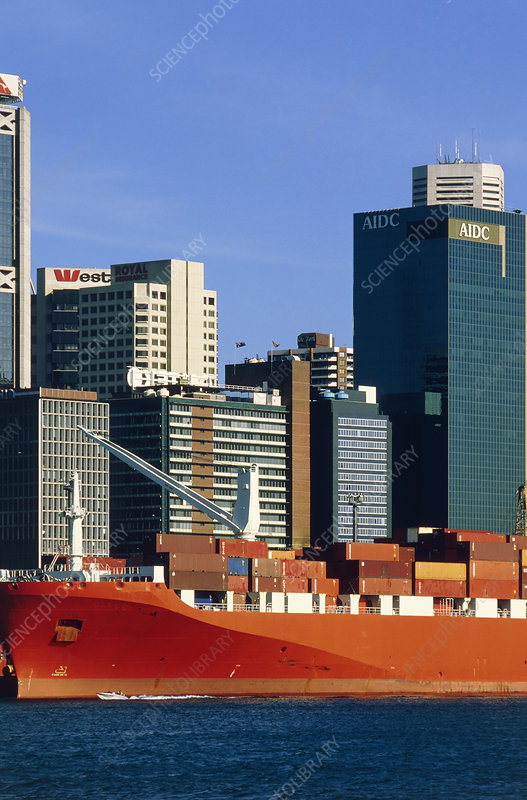 Shipping freight in Sydney harbour.