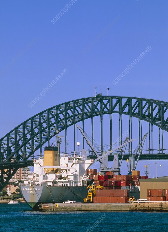 View of Sydney harbour showing steel bridge.