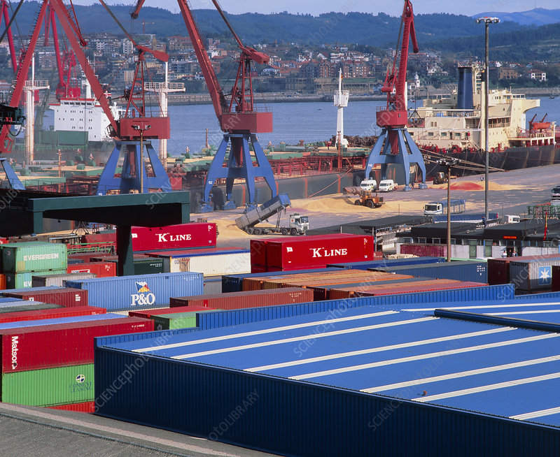 Docks at a container port with containers & cranes