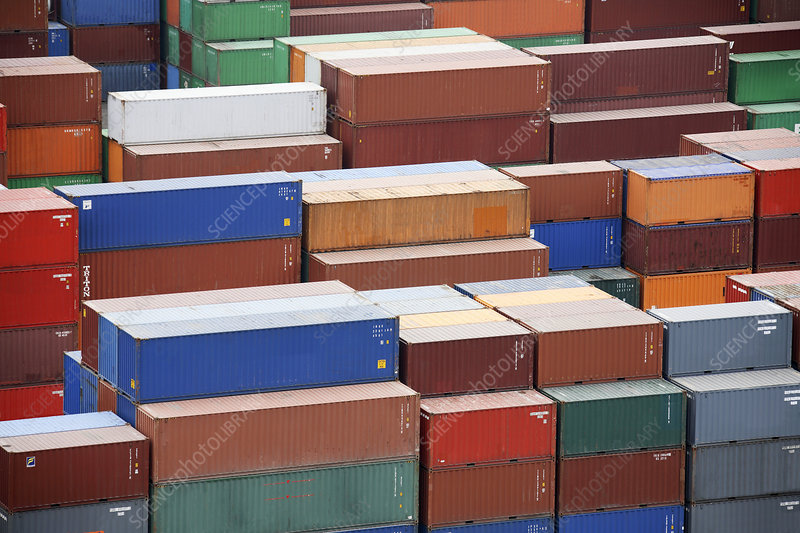 Containers at a cargo port
