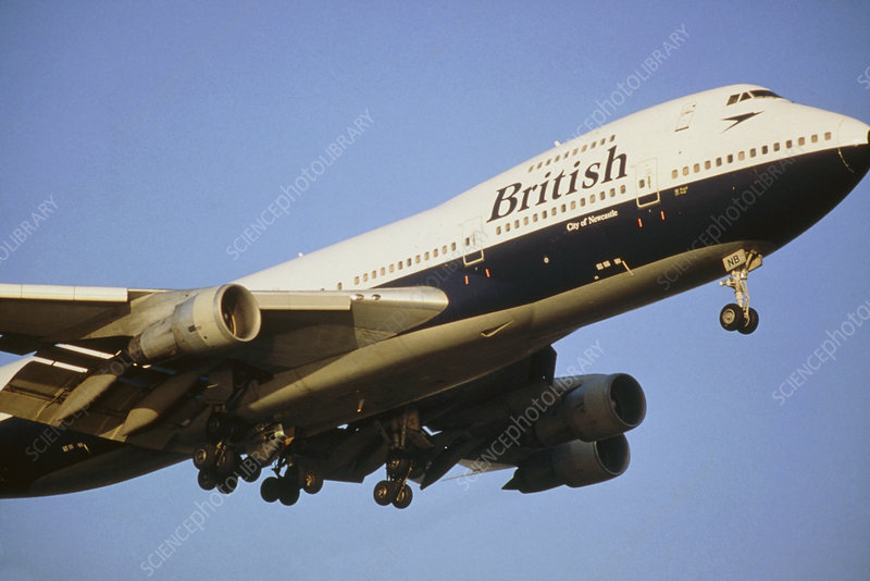 British Airways jumbo jet in flight