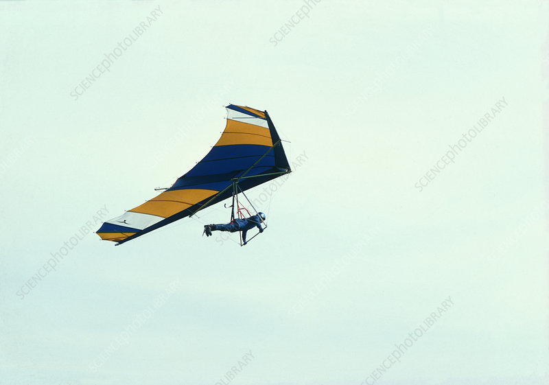 Hang-glider in flight over Lincolnshire, England