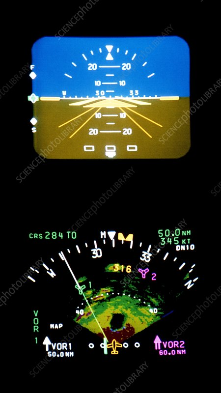High-tech computerised aircraft instrument panel
