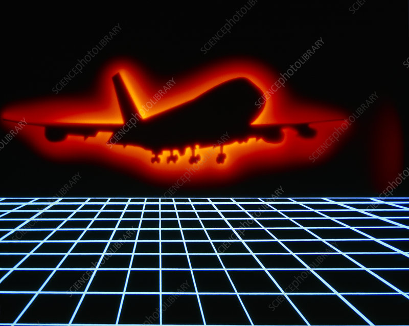 Artwork of silhouette of aircraft over blue grid