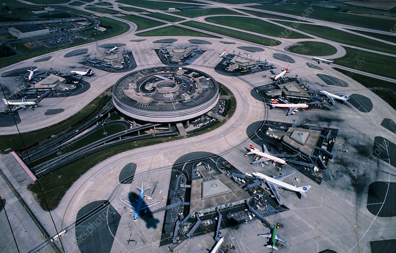 Aerial view of Charles De Gaulle airport, Paris
