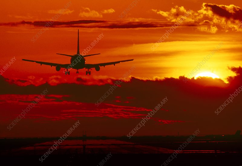 Boeing 737 landing at sunset