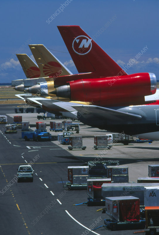Tails of parked DC-10 airliners at Vancouver