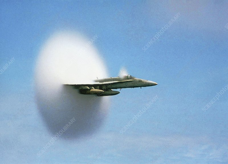 Aircraft sonic boom cloud