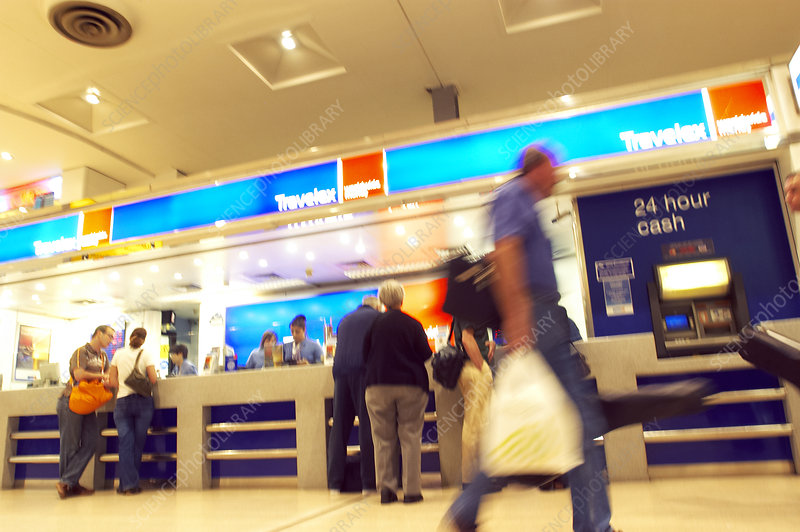 Currency exchange at an airport