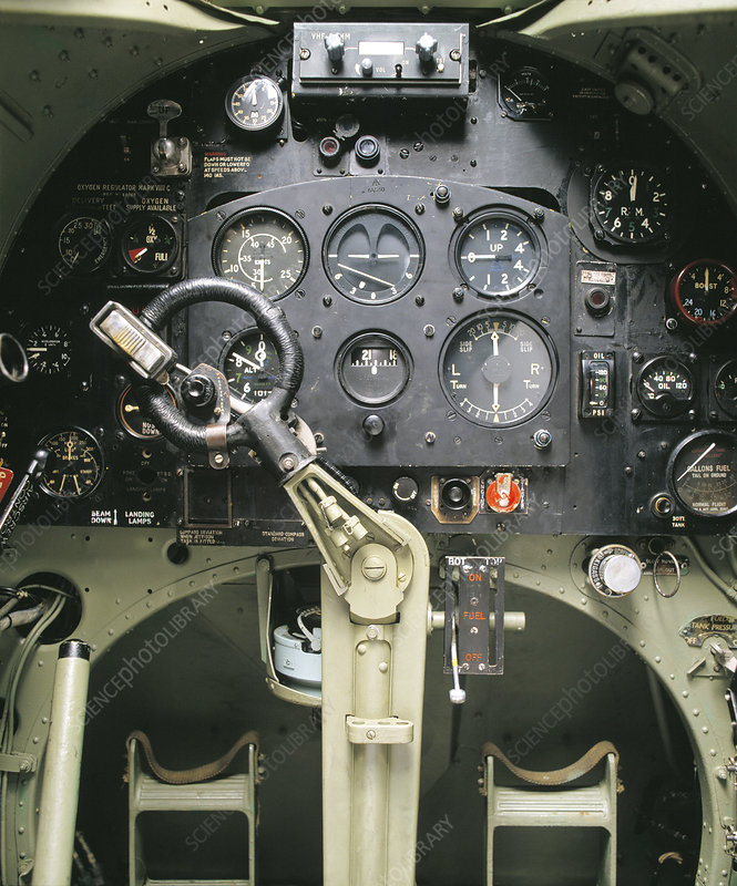 Cockpit controls of a Spitfire fighter