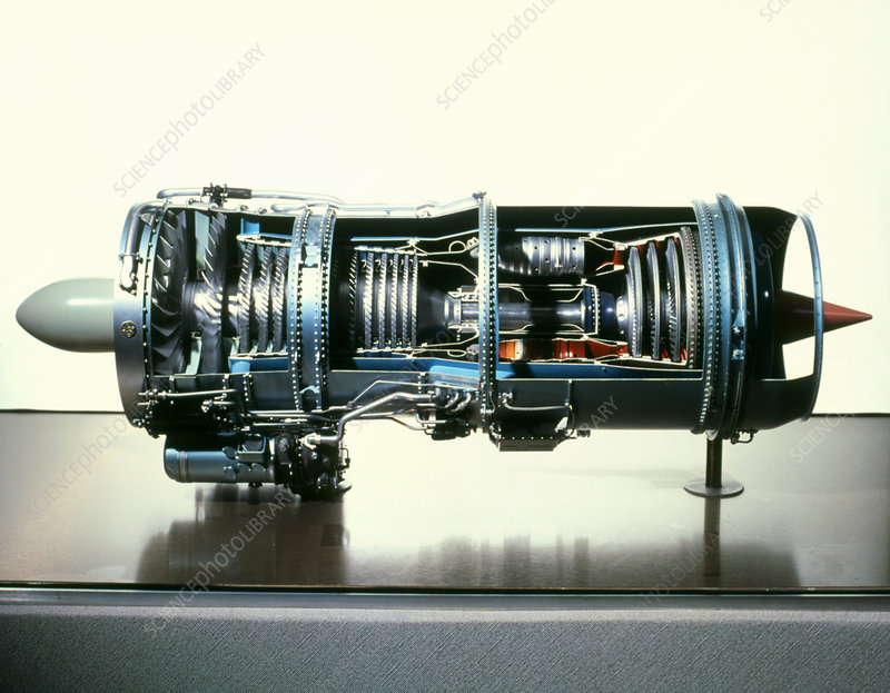 Cut-away model of an aircraft's jet engine - Stock Image