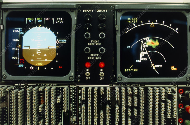 Testing screens from an Airbus cockpit display