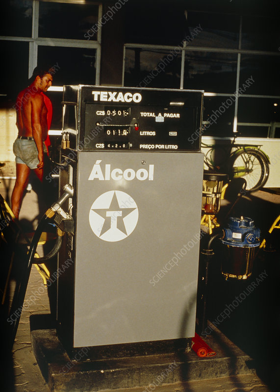 Texaco alcohol fuel on sale in garage at Brazil