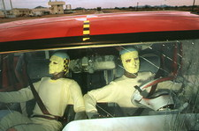 Anamorphic dummies inside vehicle in crash test