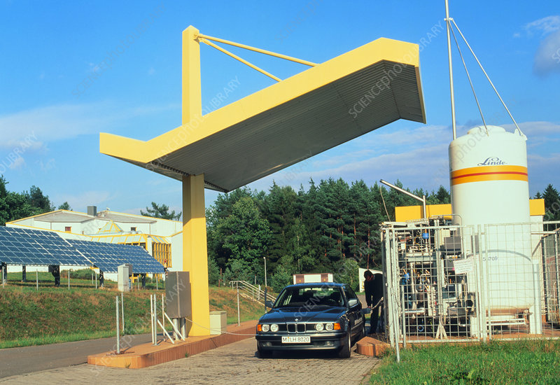 Liquid hydrogen filling station with car