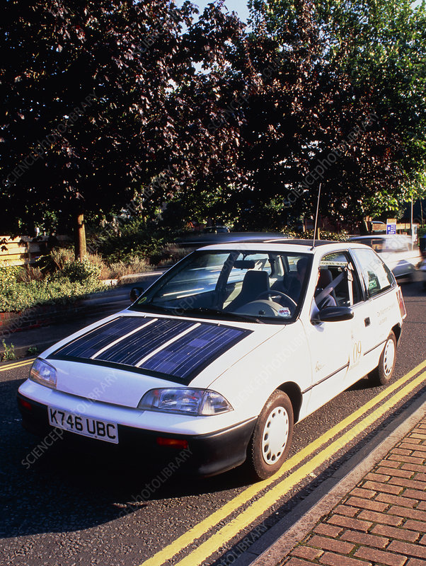 Solectria battery and solar-powered electric car.