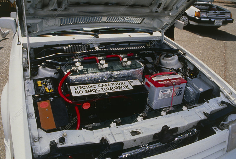 View Under The Bonnet Of An Electric Car Stock Image