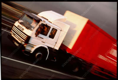 Time-exposure image of an articulated lorry