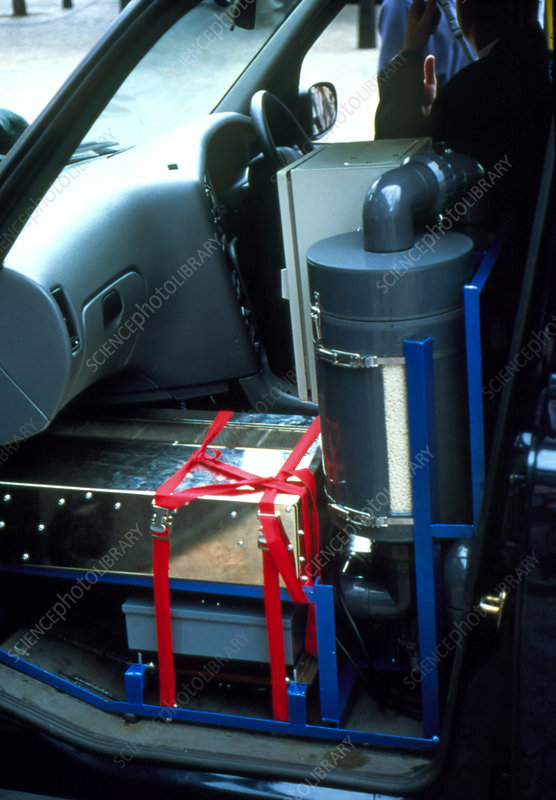 View of a hydrogen fuel cell in a taxi