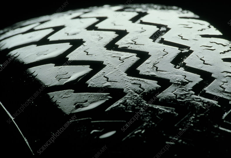 View of the tread pattern of a motor vehicle tyre