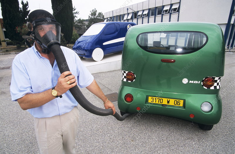 Man demonstrating non-polluting air car