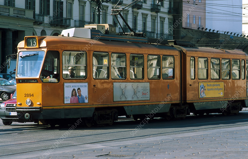 Electric street car (tram) in Turin, Italy