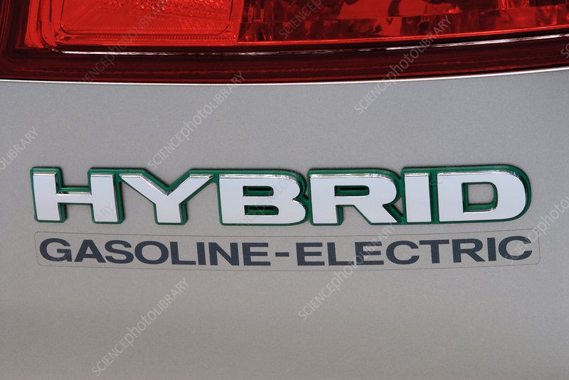 Hybrid gasoline-electric car logo