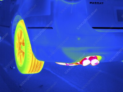 Car exhaust, thermogram