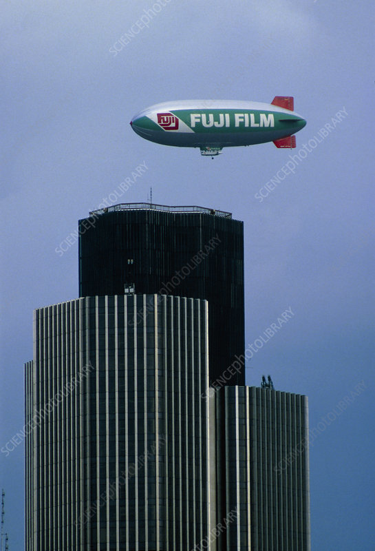 Fuji Film airship floating over Natwest Bank,Londo