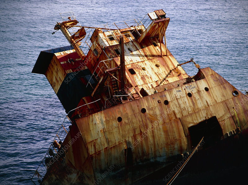 Wrecked and rusting tanker
