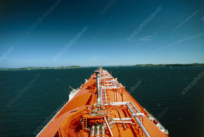 View along deck of LNG tanker