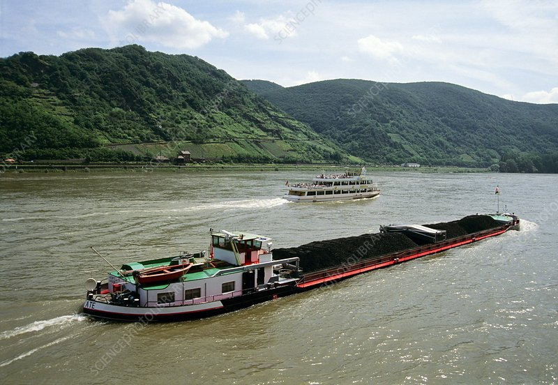 Barge on the River Rhine, Germany
