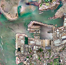 Portsmouth docks, UK, aerial image