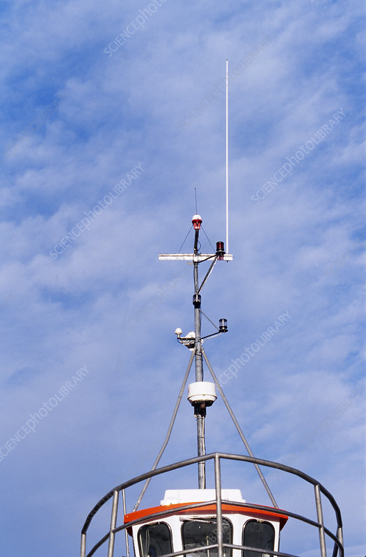 Communication aerials on a boat