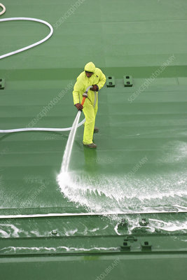 Cleaning cargo ship