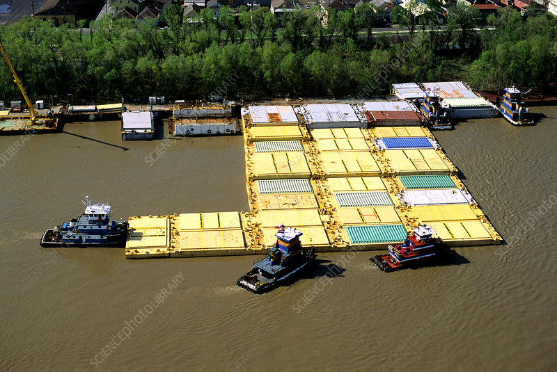 Mississippi River Tugboats and Barges