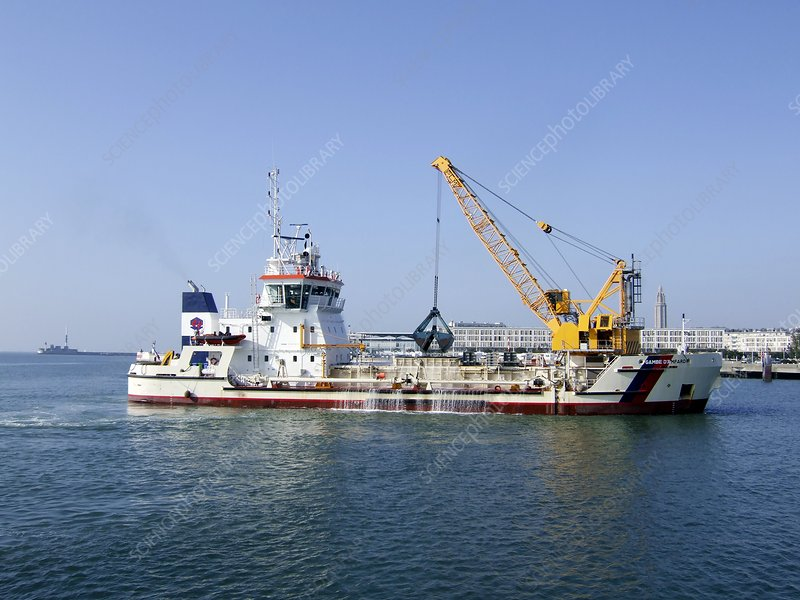 Dredger in Le Havre harbour, France