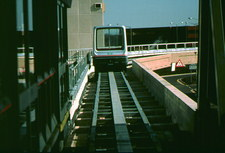 Maglev railcar on a section of elevated track