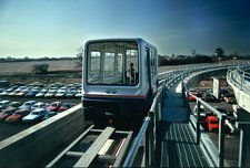 Maglev railcar on elevated track