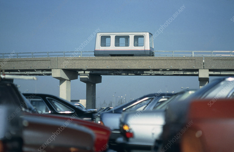 Maglev railcar on section of elevated track