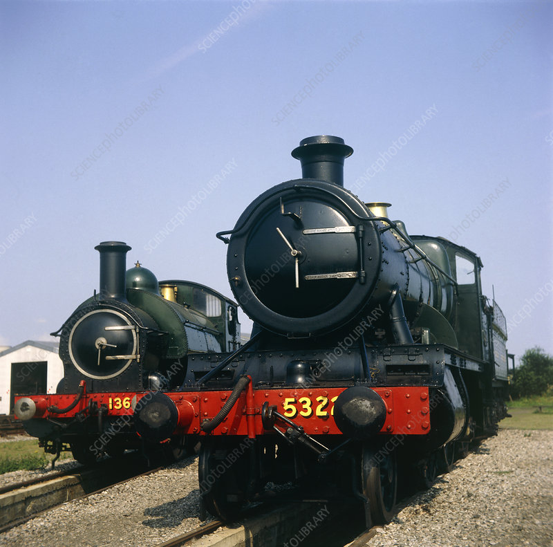 two steam locamotives at Great Western railway